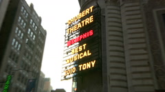 Zoom in to Memphis' Billboard at the Shubert Theatre's facade [Broadway49] - stock footage