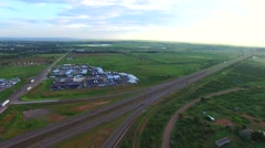 Truck stop aerial video Stock Footage