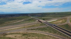 Aerial video Albuquerque New Mexico highway interchange Stock Footage