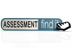 Assessment word on the blue find it banner - stock illustration