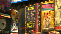 Billboards of plays on The Palace Theatre's facade, Broadway [Broadway53] - stock footage