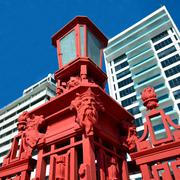 Details of the Red Fence of Captain Cook wharf in Auckland, New Zealand Kuvituskuvat