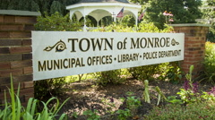 Town Sign, municipal offices, police, library, Monroe, CT Stock Footage