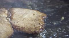 Frying beef Stock Footage
