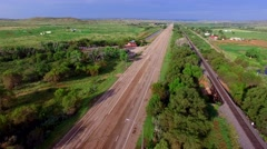 Aerial video old route 66 spedup Stock Footage