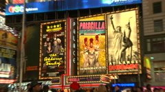 Zoom in to 3 theatre billboards on Broadway [Broadway55] - stock footage