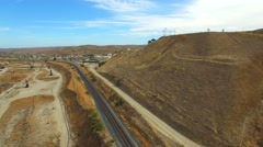 Aerial video of a railroad and oil field Stock Footage