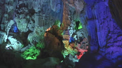 Colorful karst cave in Hạ Long Bay, North Vietnam Stock Footage