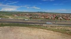 Aerial video Albuquerque New Mexico neighborhood - stock footage