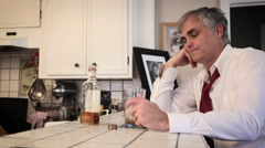 Man Drinks Alcohol at Home 04 - stock footage