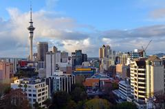 Aerial view of Auckland skyline - New Zealand Stock Photos