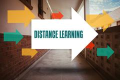 Distance learning against empty hallway Stock Photos