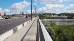 View with  bridge through Oka River. Nizhny Novgorod. Russia Stock Footage