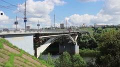 Stock Video Footage of View of  bridge through Oka River. Nizhny Novgorod. Russia