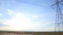 Powerlines pan and tilt Stock Footage