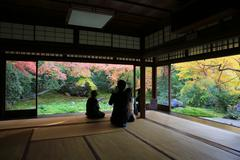 Zen garden at Rurikoin, all viewed through a window. Stock Photos