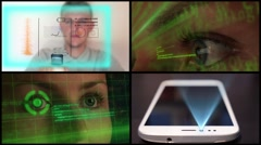 Montage Futuristic Hologramic Technology Stock Footage