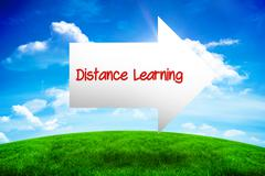 Distance learning against green hill under blue sky Stock Photos