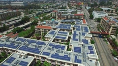 Aerial video of Solar powered housing 2 Stock Footage