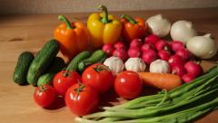 Assorted vegetables on a table - stock footage