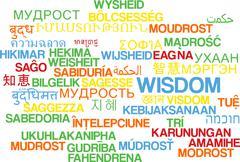 Wisdom multilanguage wordcloud background concept - stock illustration