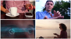 Collage Futuristic Hologramic Technology. Hi-tech Concept - stock footage