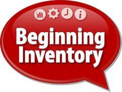 Beginning Inventory  Business term speech bubble illustration Stock Illustration