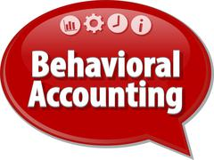 Behavioral Accounting  Business term speech bubble illustration - stock illustration