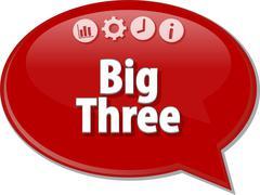Big Three  Business term speech bubble illustration - stock illustration