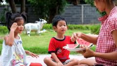 Mother Daughter and son Enjoying Slices Of Water Melon. family enjoy eating. Stock Footage