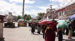 Tibetan people, Barkhor Square, Lhasa, Tibet Stock Footage