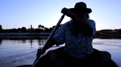 Paddeling On Amazon River In Sunset, Brazil.  Stock Footage