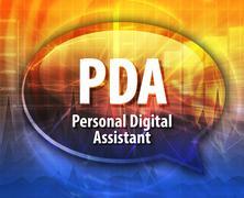 PDA acronym definition speech bubble illustration - stock illustration