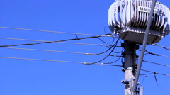 Light pole distribution transformer messy wires. - stock footage
