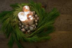 Christmas Wreath with Bells and Candles (Table Decoration) Kuvituskuvat