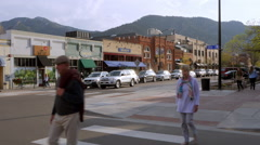 Boulder Colorado Pedestrians Crossing Street Stock Footage