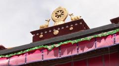 Buddhist wheel & deer, Jokhang Temple, Tibet Stock Footage