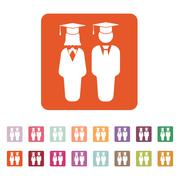 The student boy and girl icon. School, academy, college, education symbol. Flat - stock illustration