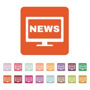 The tv news icon. Television and telly, telecasting, broadcast symbol. Flat - stock illustration