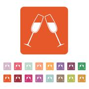 The clink glasses icon. Wineglass and goblet, celebration symbol. Flat - stock illustration