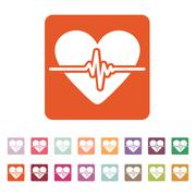 The heart icon. Cardiology and cardiogram, ecg, cardio symbol. Flat Stock Illustration