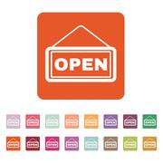 The open sign icon. Input and entrance symbol. Flat Stock Illustration