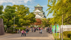 4k timelapse video of people visiting Osaka Castle in Osaka, Japan Stock Footage