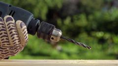Drilling  with hand drill Stock Footage