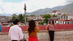 Chinese tourists, Lhasa, Tibet Stock Footage
