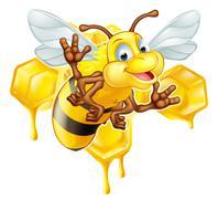 Cartoon cute bee and honey Stock Illustration
