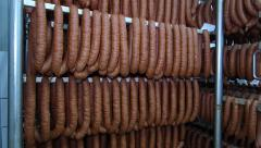 Sausages in drying chamber - stock footage