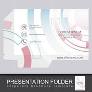 Abstract corporate folder with die cut, technology pattern Stock Illustration