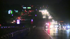Police at incident on Freeway Stock Footage