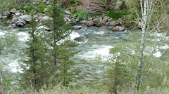 4k – Big wild river in grotto 03 Stock Footage